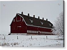 Big Red Barn In The Winter Acrylic Print