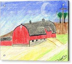 Big Red Barn Acrylic Print by John Hoppy Hopkins