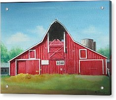 Acrylic Print featuring the painting Big Red Barn by Oz Freedgood