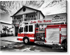Big Red Fire Truck Acrylic Print by Mel Steinhauer