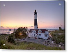 Big Sable Point Lighthouse At Sunset Acrylic Print by Adam Romanowicz