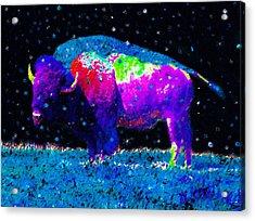 Big Snow Buffalo Acrylic Print by David Lee Thompson