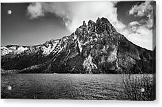 Big Snowy Mountain In Black And White Acrylic Print