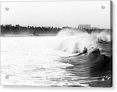 Big Surf At Santa Monica Acrylic Print by John Rizzuto