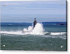 Big Wave Hits Ram Island Ledge Light Acrylic Print