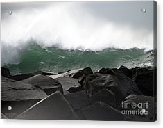 Big Wave Acrylic Print by Larry Keahey