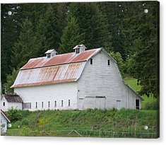 Big White Old Barn With Rusty Roof  Washington State Acrylic Print by Laurie Kidd