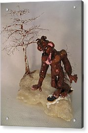 Bigfoot On Crystal Acrylic Print by Judy Byington