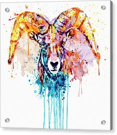 Acrylic Print featuring the mixed media Bighorn Sheep Portrait by Marian Voicu