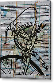 Bike 2 On Map Acrylic Print
