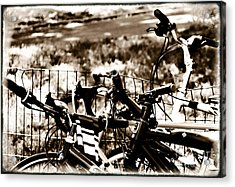 Bike Against The Fence Acrylic Print by Madeline Ellis