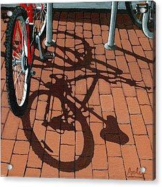 Bike And Bricks  Acrylic Print by Linda Apple
