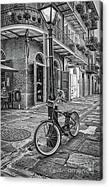 Bike And Lamppost In Pirate's Alley- Bw Acrylic Print