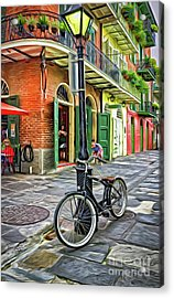 Bike And Lamppost In Pirates Alley-painted Acrylic Print