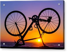 Bike On Seawall Acrylic Print