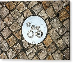 Bike Path Sign On A Cobblestone Pavement Acrylic Print