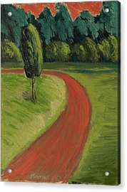 Acrylic Print featuring the painting Bike Path Through The Greenbelt by Clarence Major