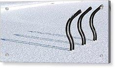 Bike Racks In Snow Acrylic Print by Steve Somerville