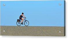 Bike Rider On Levee Acrylic Print