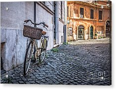 Bike With Basket On Streets Of Rome Acrylic Print by Edward Fielding
