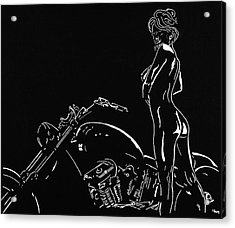 Acrylic Print featuring the drawing Biker Biach by Mayhem Mediums