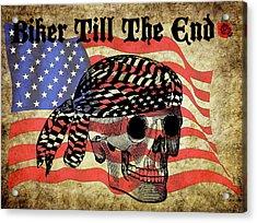 Biker Skull American Flag Old Paper Art Acrylic Print