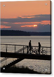 Bikers At Sunset Acrylic Print