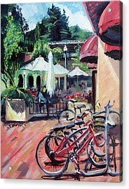 Bikes At The Depot Cafe Acrylic Print by Colleen Proppe