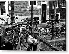 Bikes Hanging Out Mono Acrylic Print by John Rizzuto