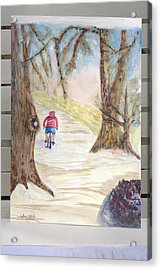Biking In The Woods Acrylic Print by Jonathan Galente