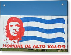 Billboard With The Iconic Che Guevara Portrait And National Cuban Flag Acrylic Print by Sami Sarkis
