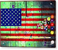 Billiard American Flag Grunge Acrylic Print