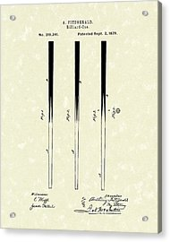 Billiard Cue 1879 Patent Art Acrylic Print