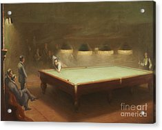 Billiard Match At Thurston Acrylic Print by English School
