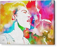 Billie Holiday Color Tribute Acrylic Print by Dan Sproul