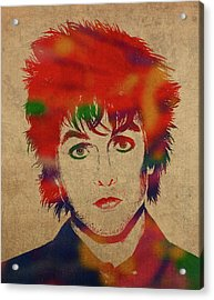 Billy Joe Armstrong Green Day Watercolor Portrait Acrylic Print