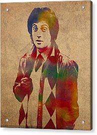 Billy Joel Musician Watercolor Portrait Acrylic Print