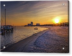 Biloxi Beach Sunset Acrylic Print by Barry Jones