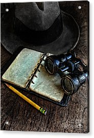 Binoculars Fedora And Notebook Acrylic Print by Jill Battaglia