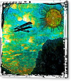 Acrylic Print featuring the digital art Biplane by Iowan Stone-Flowers