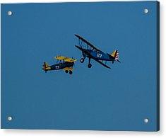 Biplanes Near Collision 5x7 Acrylic Print