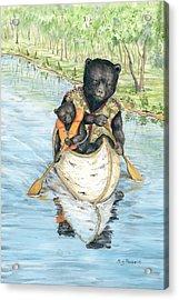Birch Bark Canoe Acrylic Print