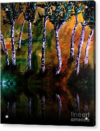 Acrylic Print featuring the painting Birch Forest Reflections by Ayasha Loya