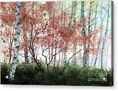 Acrylic Print featuring the painting Birch Forest by Sergey Zhiboedov