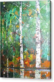 Acrylic Print featuring the painting Birch In Color by Gary Smith