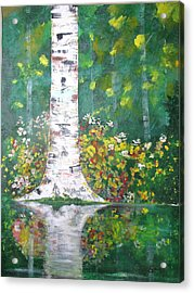 Acrylic Print featuring the  Birch In Flowers by Gary Smith