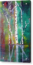 Acrylic Print featuring the painting Birch On Bank by Gary Smith