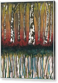 Birch Trees #2 Acrylic Print by Rebecca Childs