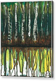 Birch Trees #3 Acrylic Print by Rebecca Childs