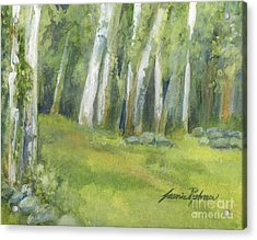 Birch Trees And Spring Field Acrylic Print
